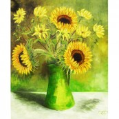 Sunflower in Green Jug Thumbnail