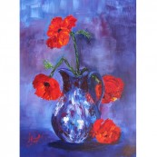Red Poppies in Blue Jug Preview