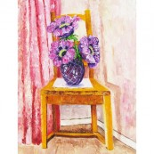 Pine Chair with Flowers Thumbnail